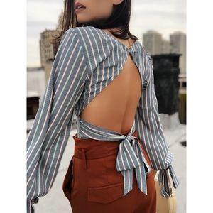 🆕Soho Striped Open Back Puff Sleeve Top